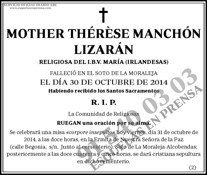 Mother Thérèse Manchón Lizarán